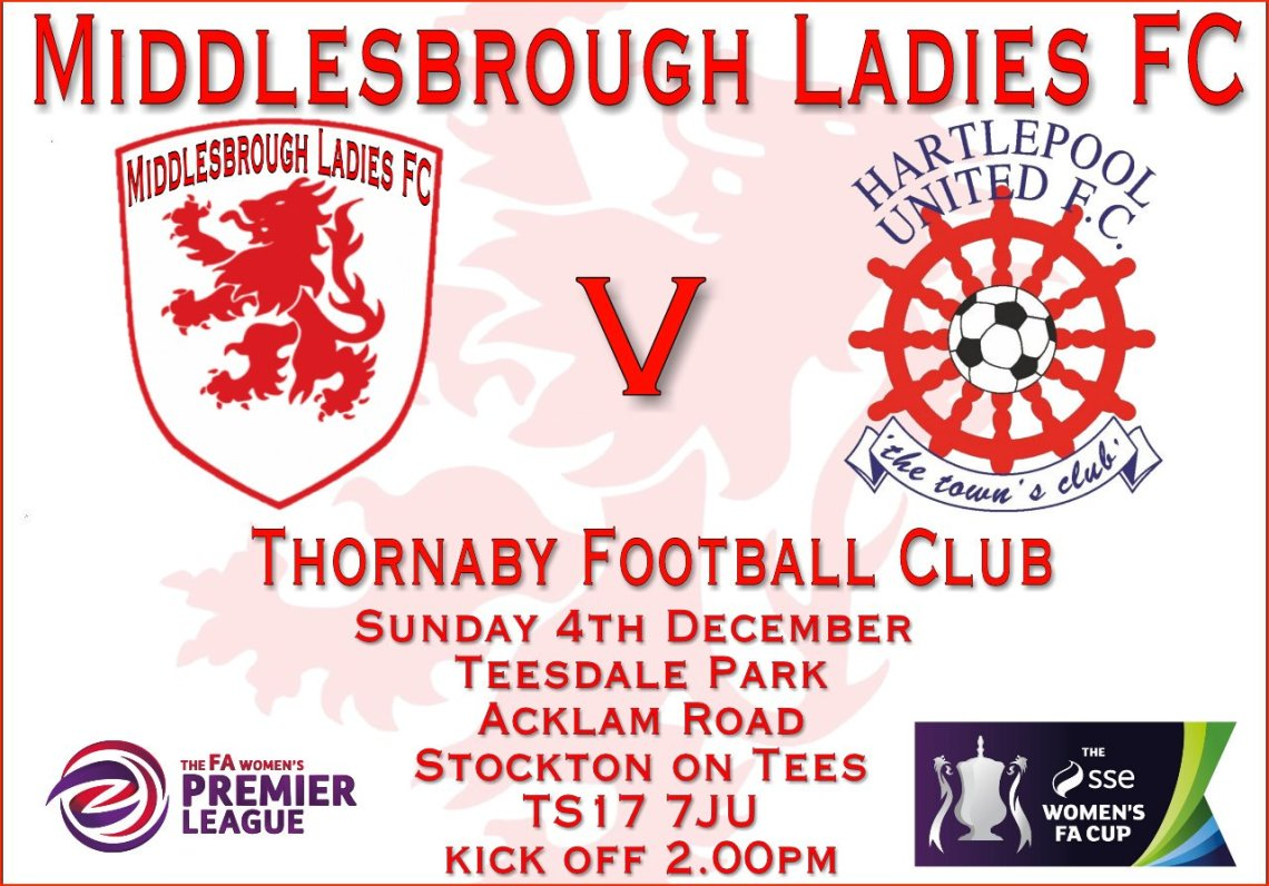 Poster advertising Middlesbrough v Hartlepool in the FA Women's Cup